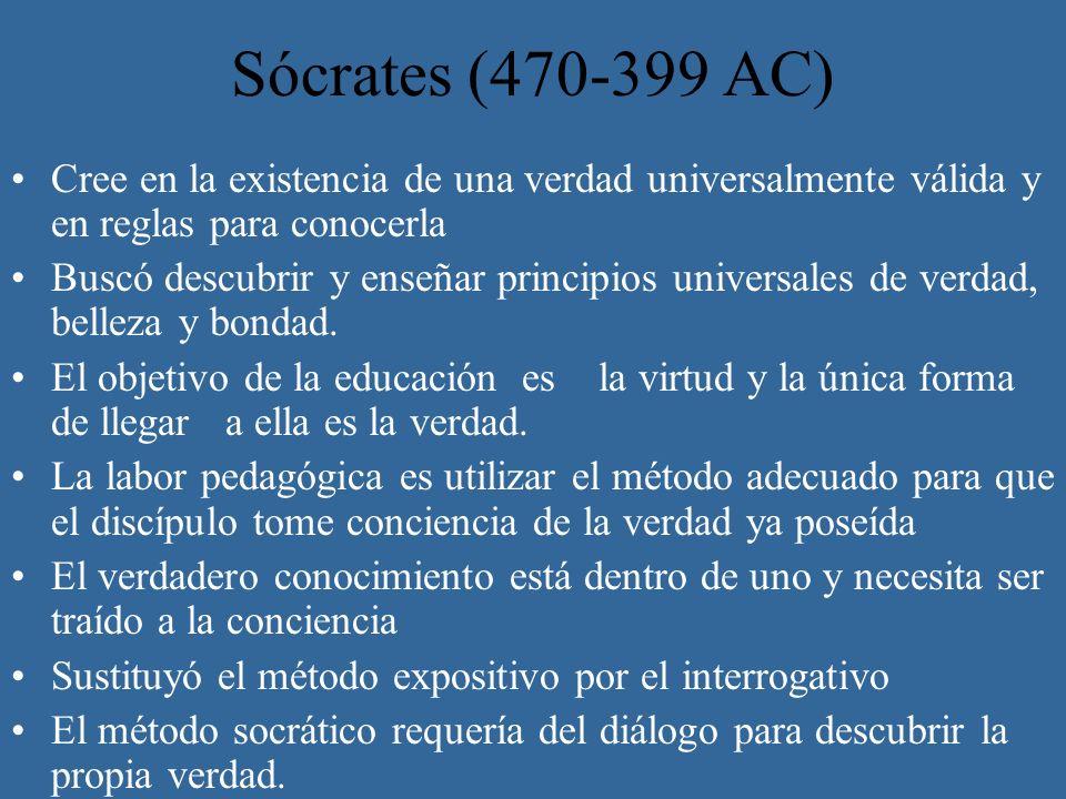 Sócrates (470-399 AC) Cree en la existencia de una verdad universalmente válida y en reglas para conocerla.