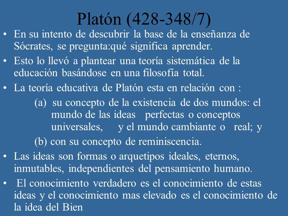Platón (428-348/7) En su intento de descubrir la base de la enseñanza de Sócrates, se pregunta:qué significa aprender.