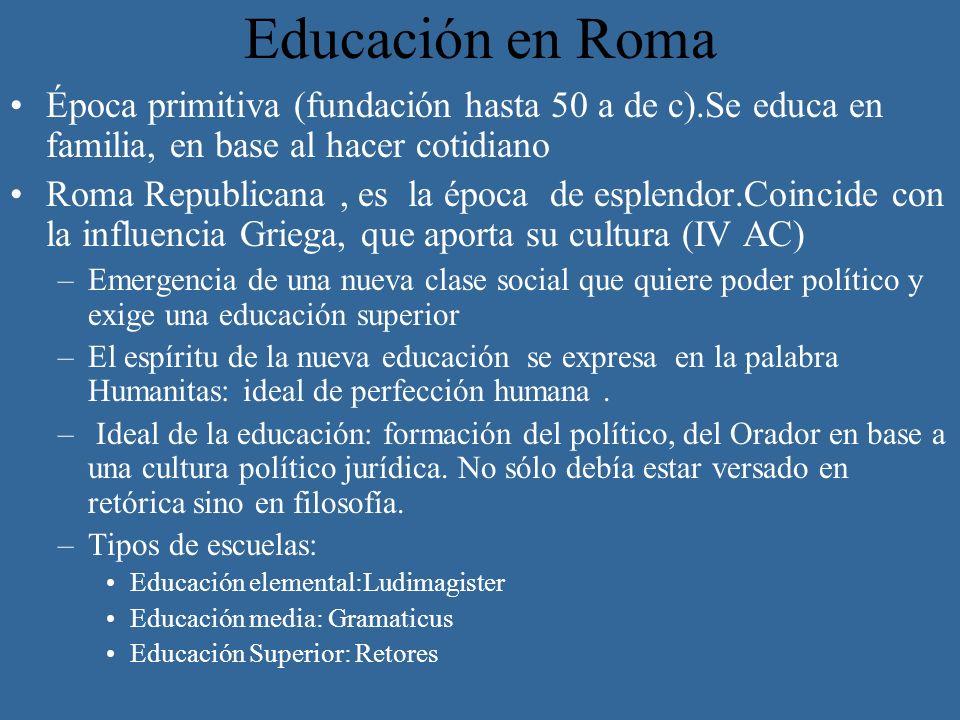 Educación en Roma Época primitiva (fundación hasta 50 a de c).Se educa en familia, en base al hacer cotidiano.