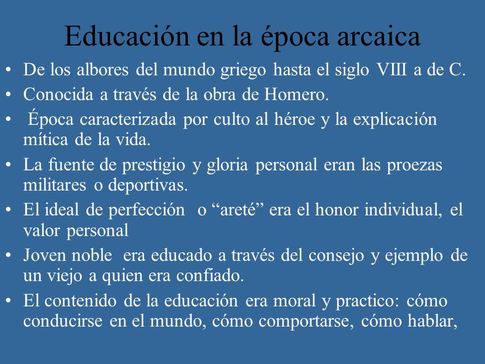 Educación en la época arcaica