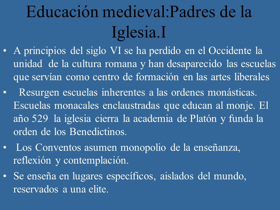 Educación medieval:Padres de la Iglesia.I