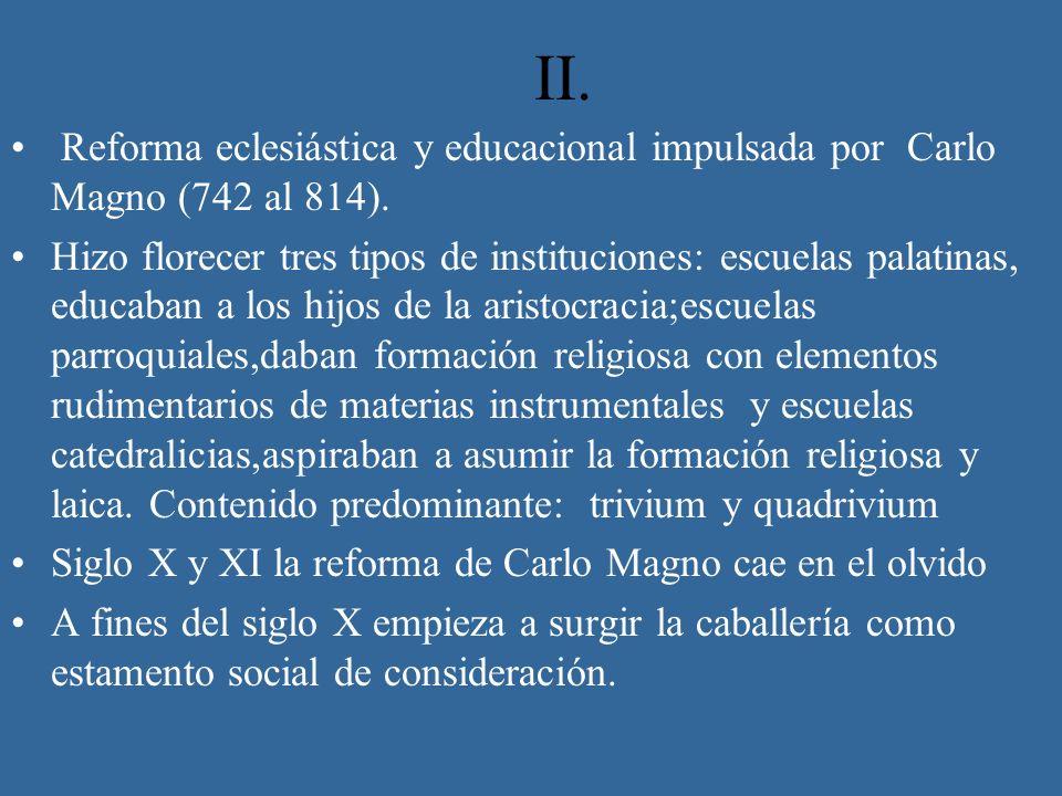 II.Reforma eclesiástica y educacional impulsada por Carlo Magno (742 al 814).