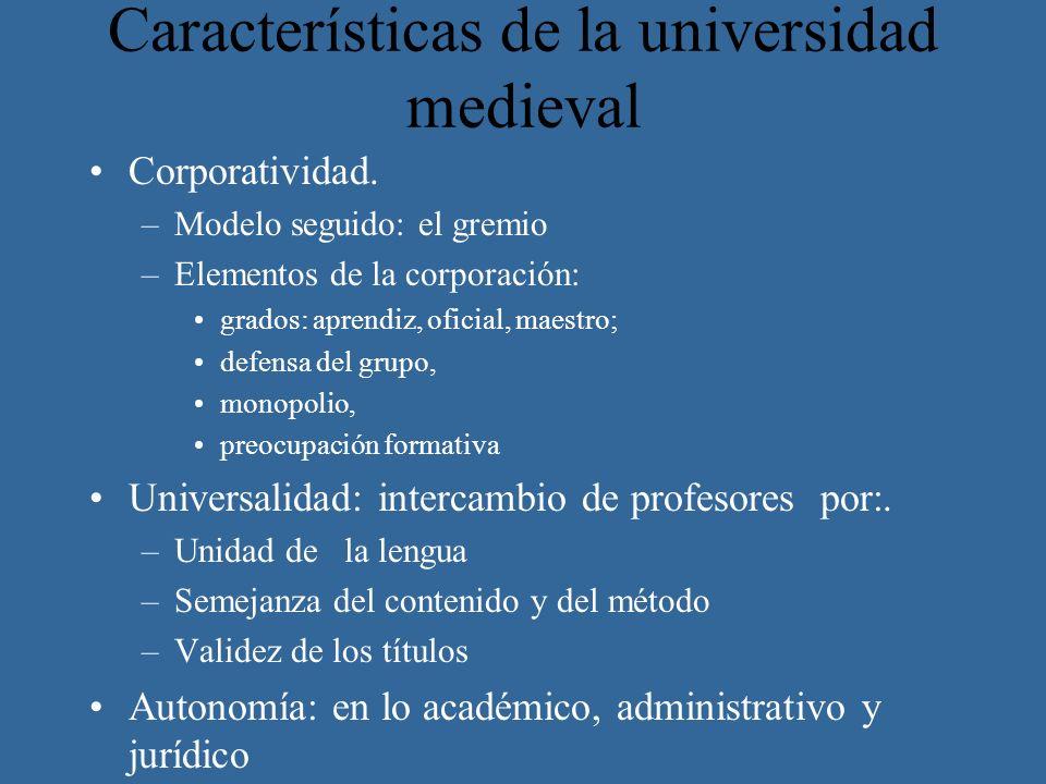 Características de la universidad medieval