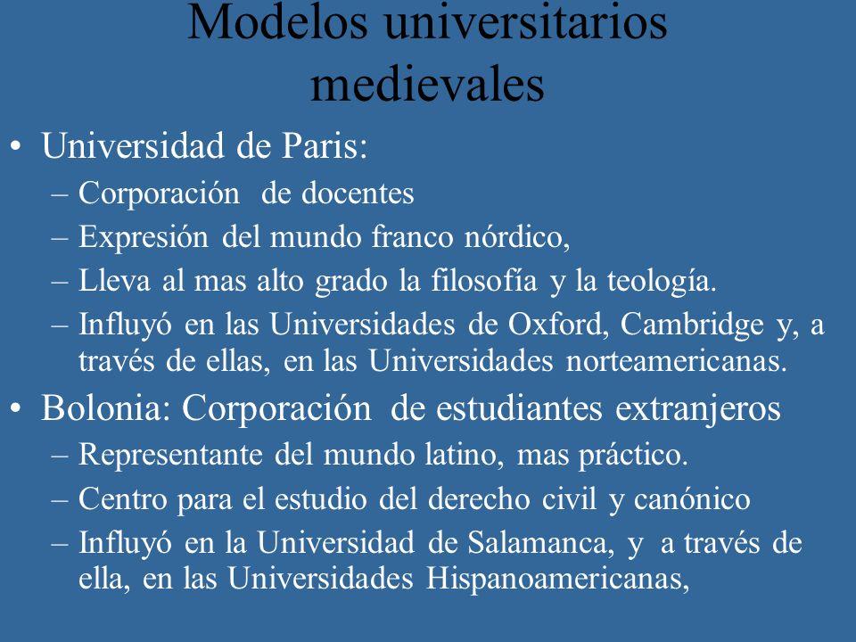 Modelos universitarios medievales