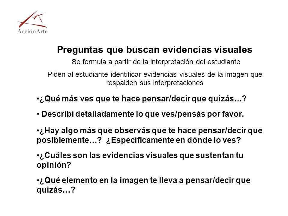 Preguntas que buscan evidencias visuales