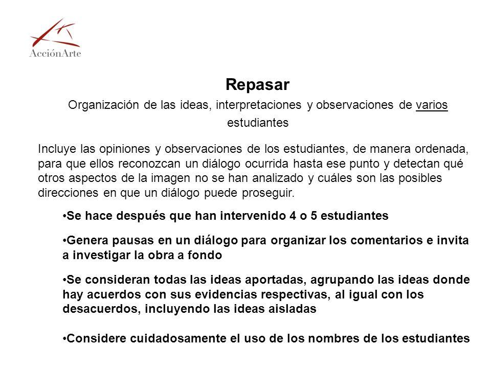 Repasar Organización de las ideas, interpretaciones y observaciones de varios estudiantes.