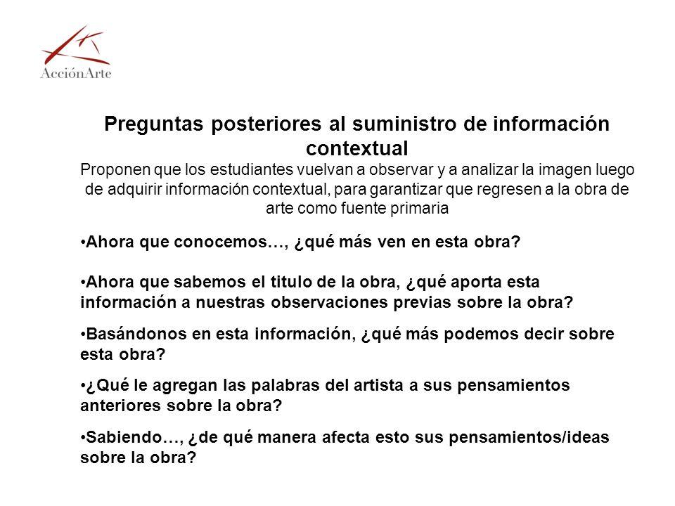 Preguntas posteriores al suministro de información contextual