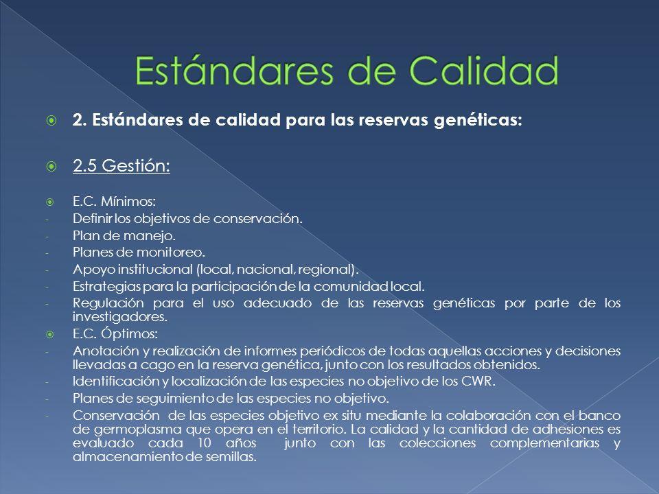 Estándares de Calidad 2. Estándares de calidad para las reservas genéticas: 2.5 Gestión: E.C. Mínimos: