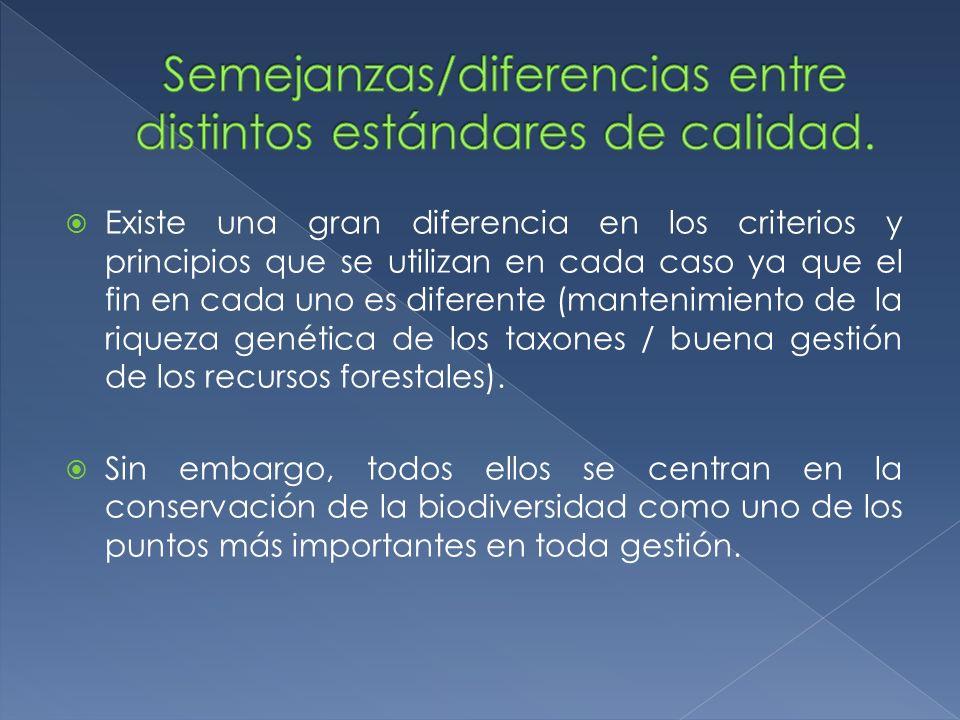 Semejanzas/diferencias entre distintos estándares de calidad.