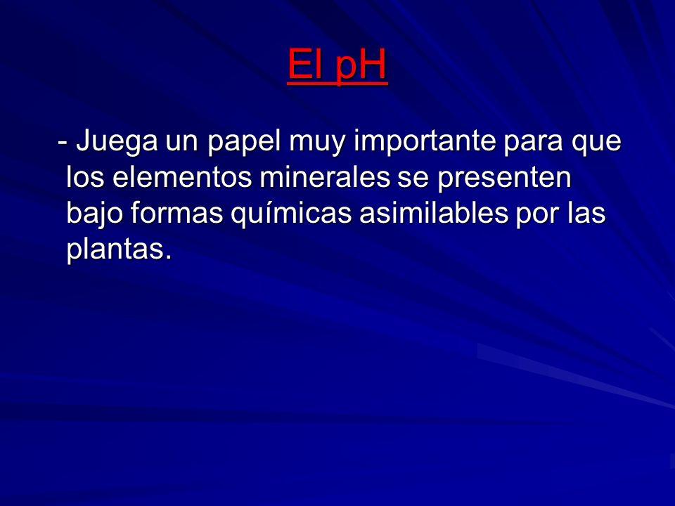 El pH - Juega un papel muy importante para que los elementos minerales se presenten bajo formas químicas asimilables por las plantas.