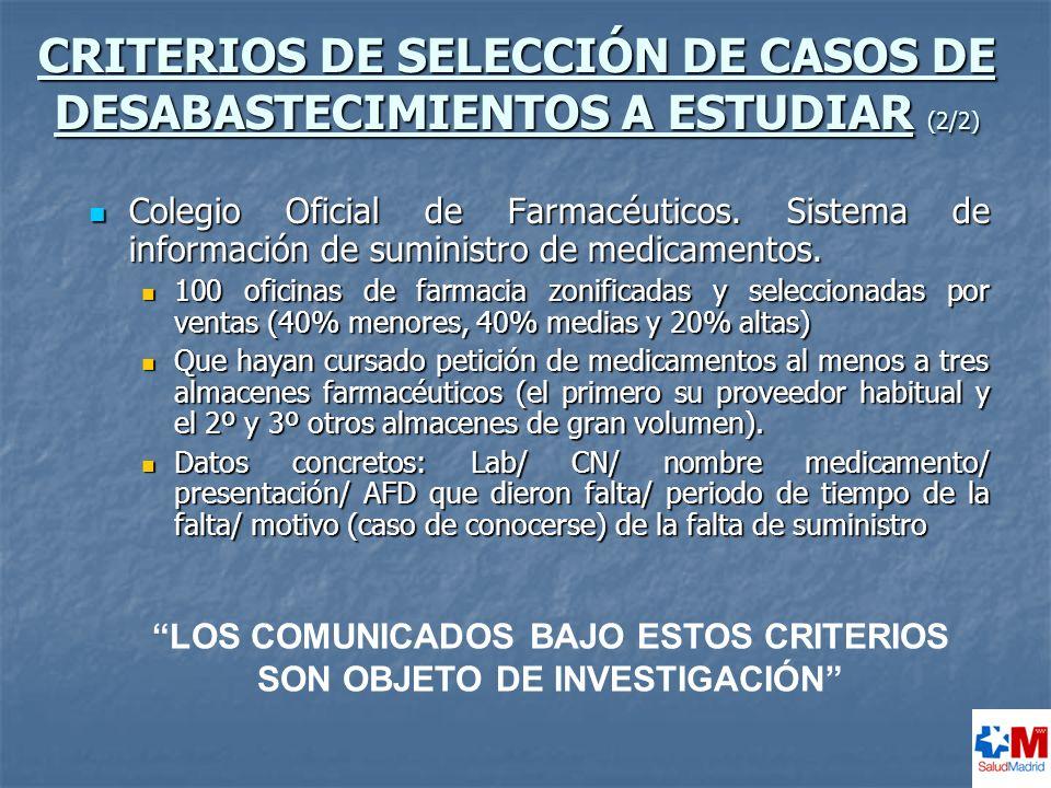 CRITERIOS DE SELECCIÓN DE CASOS DE DESABASTECIMIENTOS A ESTUDIAR (2/2)