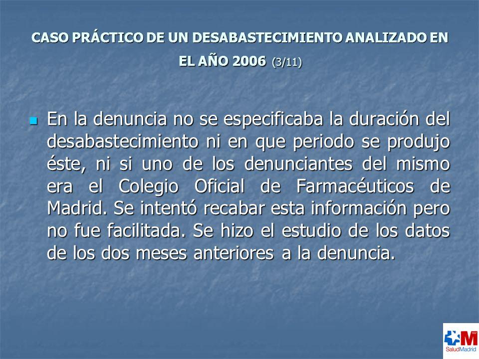 CASO PRÁCTICO DE UN DESABASTECIMIENTO ANALIZADO EN EL AÑO 2006 (3/11)