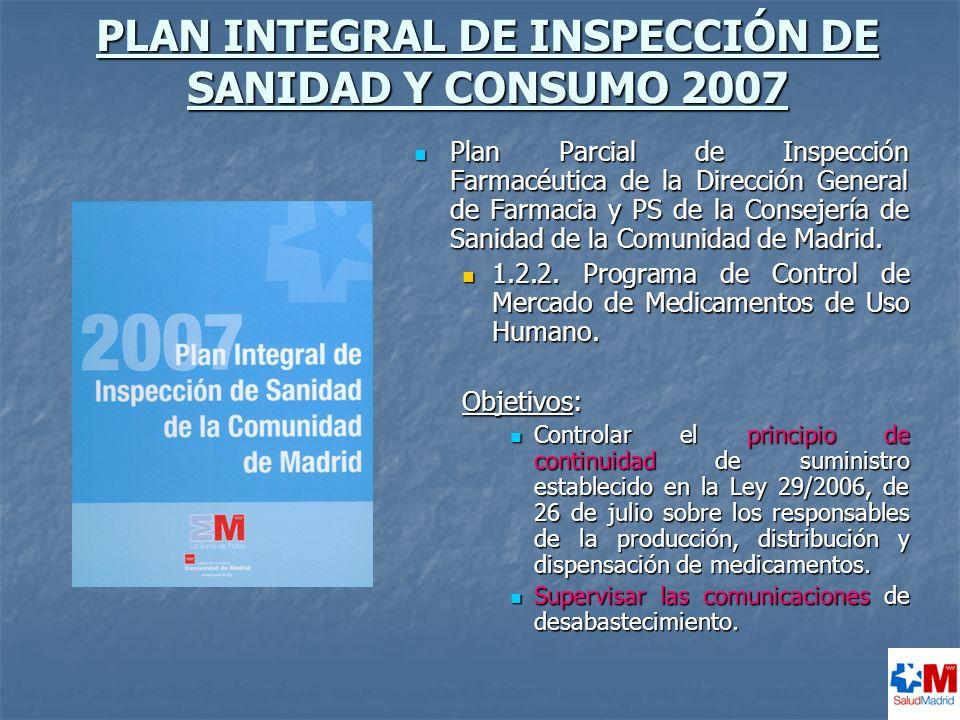 PLAN INTEGRAL DE INSPECCIÓN DE SANIDAD Y CONSUMO 2007