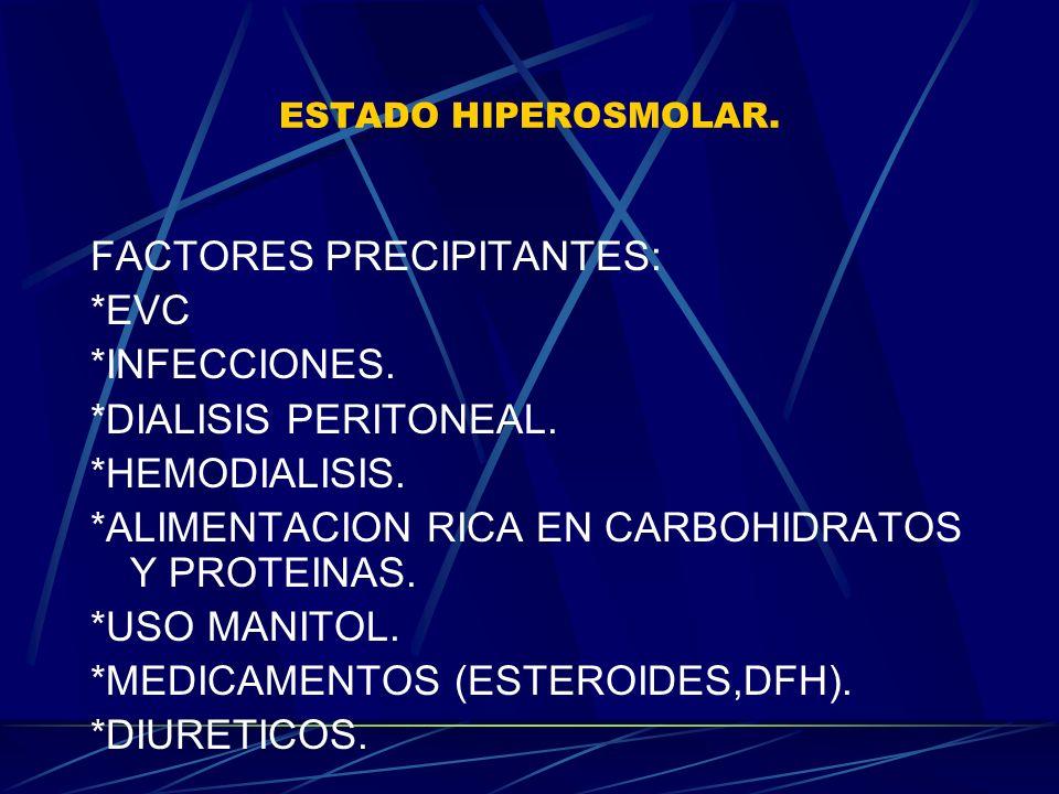 FACTORES PRECIPITANTES: *EVC *INFECCIONES. *DIALISIS PERITONEAL.