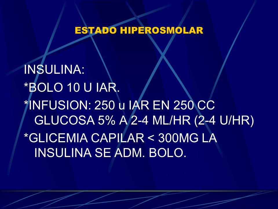 *INFUSION: 250 u IAR EN 250 CC GLUCOSA 5% A 2-4 ML/HR (2-4 U/HR)