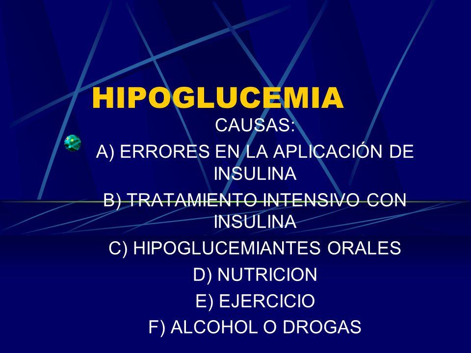 HIPOGLUCEMIA CAUSAS: A) ERRORES EN LA APLICACIÓN DE INSULINA