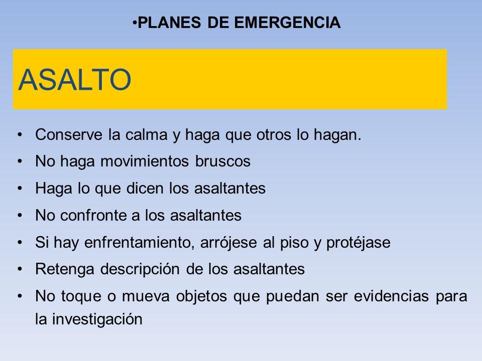 ASALTO PLANES DE EMERGENCIA