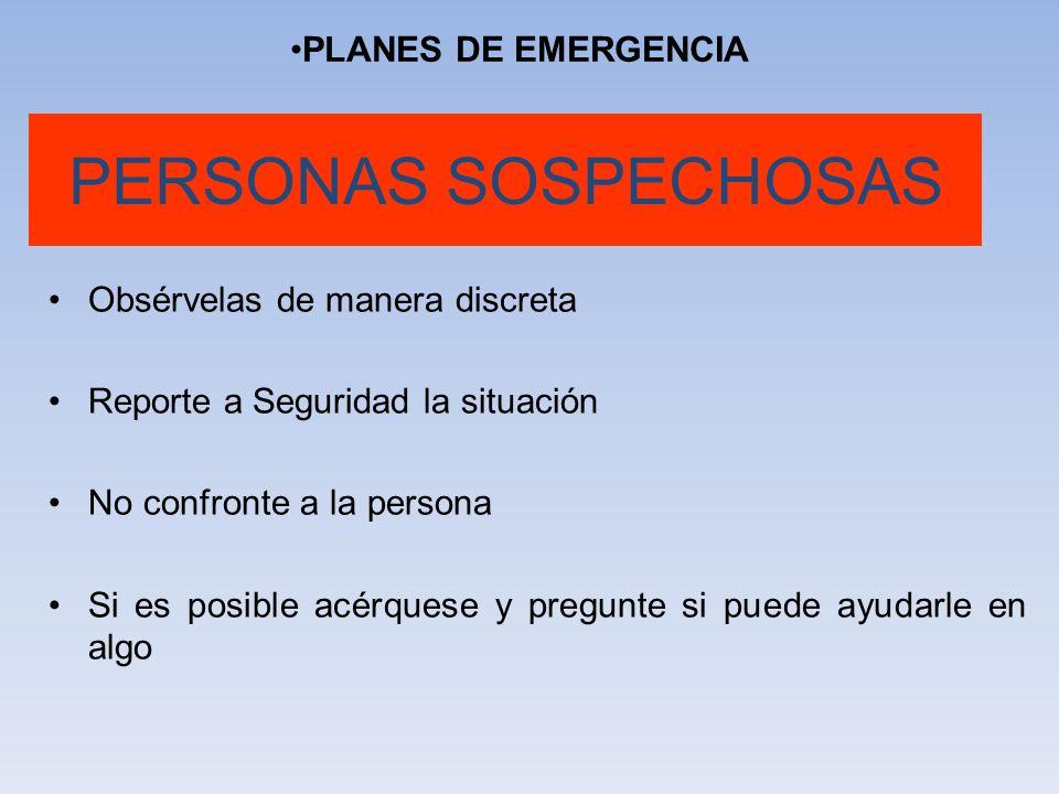 PERSONAS SOSPECHOSAS PLANES DE EMERGENCIA