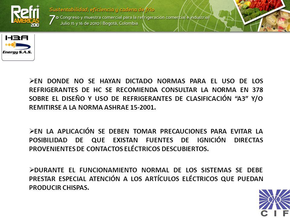 EN DONDE NO SE HAYAN DICTADO NORMAS PARA EL USO DE LOS REFRIGERANTES DE HC SE RECOMIENDA CONSULTAR LA NORMA EN 378 SOBRE EL DISEÑO Y USO DE REFRIGERANTES DE CLASIFICACIÓN A3 Y/O REMITIRSE A LA NORMA ASHRAE 15-2001.