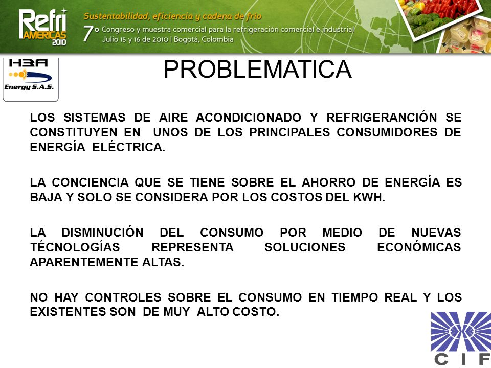 PROBLEMATICALOS SISTEMAS DE AIRE ACONDICIONADO Y REFRIGERANCIÓN SE CONSTITUYEN EN UNOS DE LOS PRINCIPALES CONSUMIDORES DE ENERGÍA ELÉCTRICA.