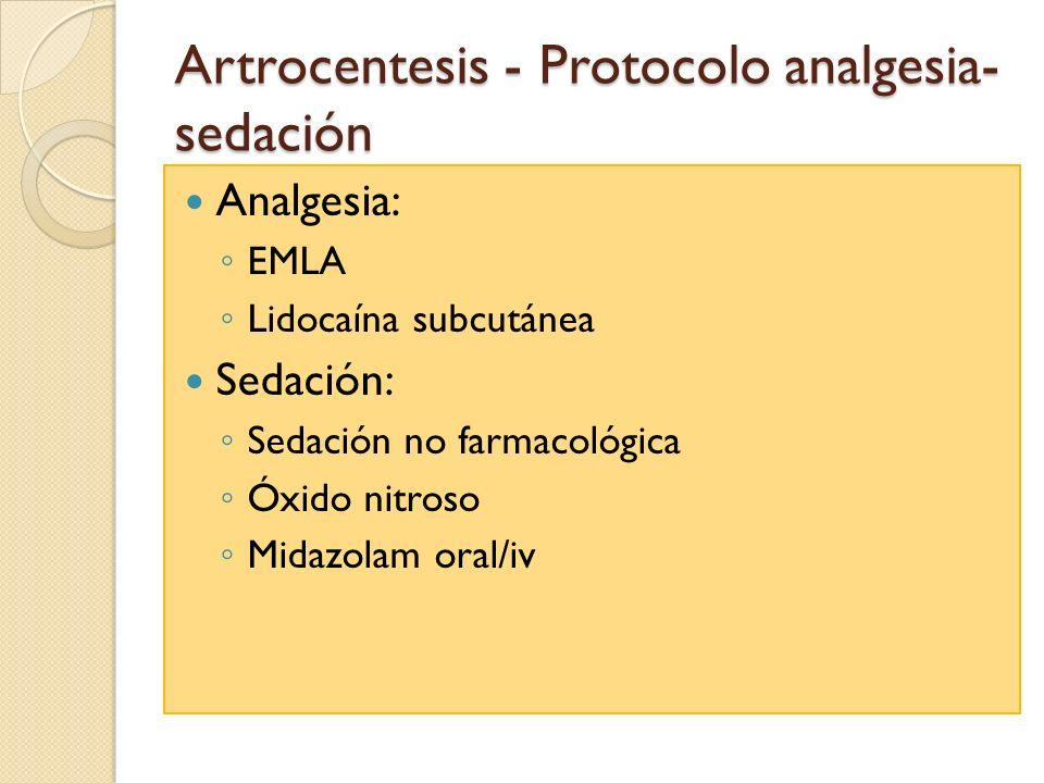 Artrocentesis - Protocolo analgesia-sedación