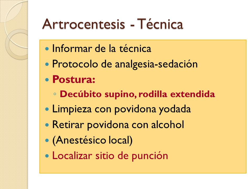 Artrocentesis - Técnica
