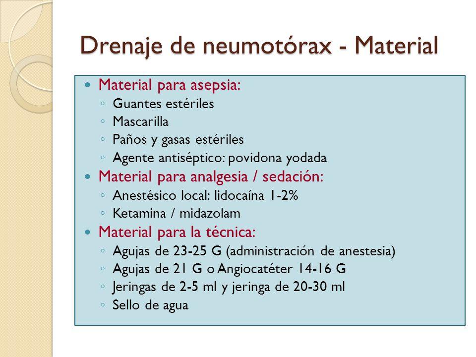 Drenaje de neumotórax - Material