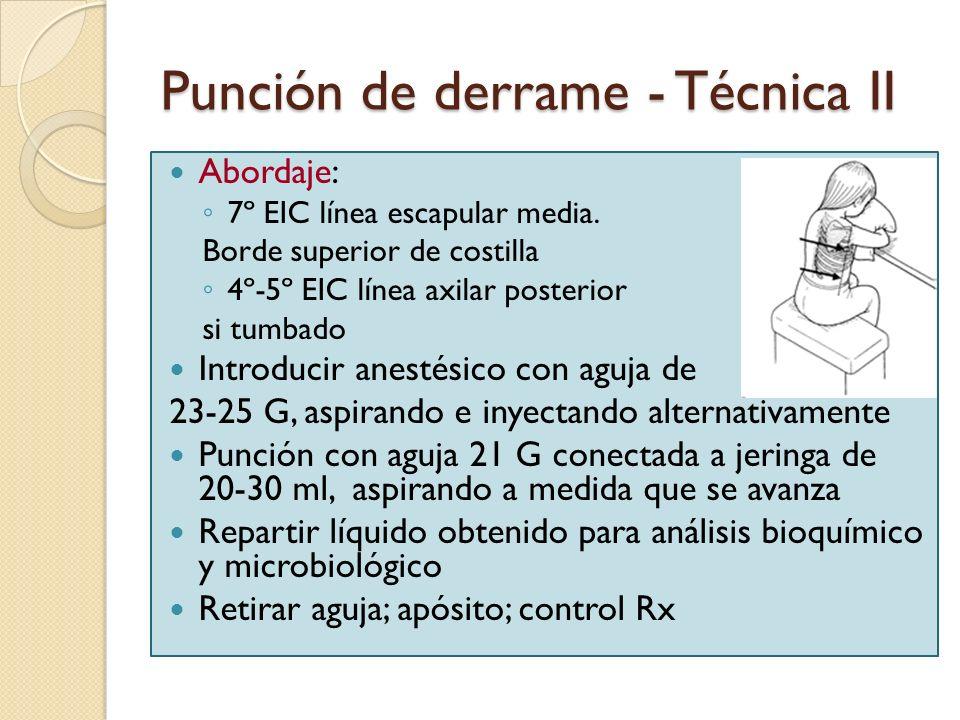 Punción de derrame - Técnica II
