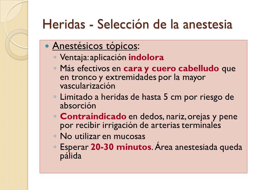 Heridas - Selección de la anestesia