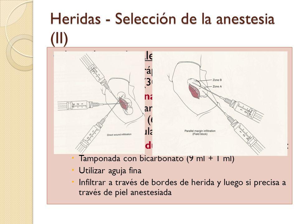 Heridas - Selección de la anestesia (II)