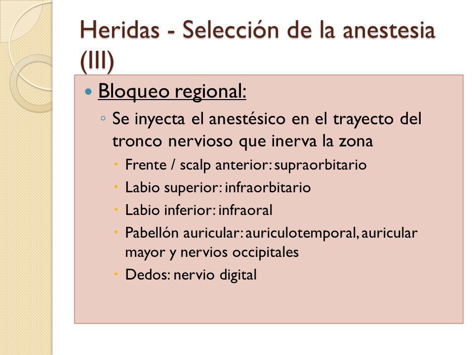 Heridas - Selección de la anestesia (III)