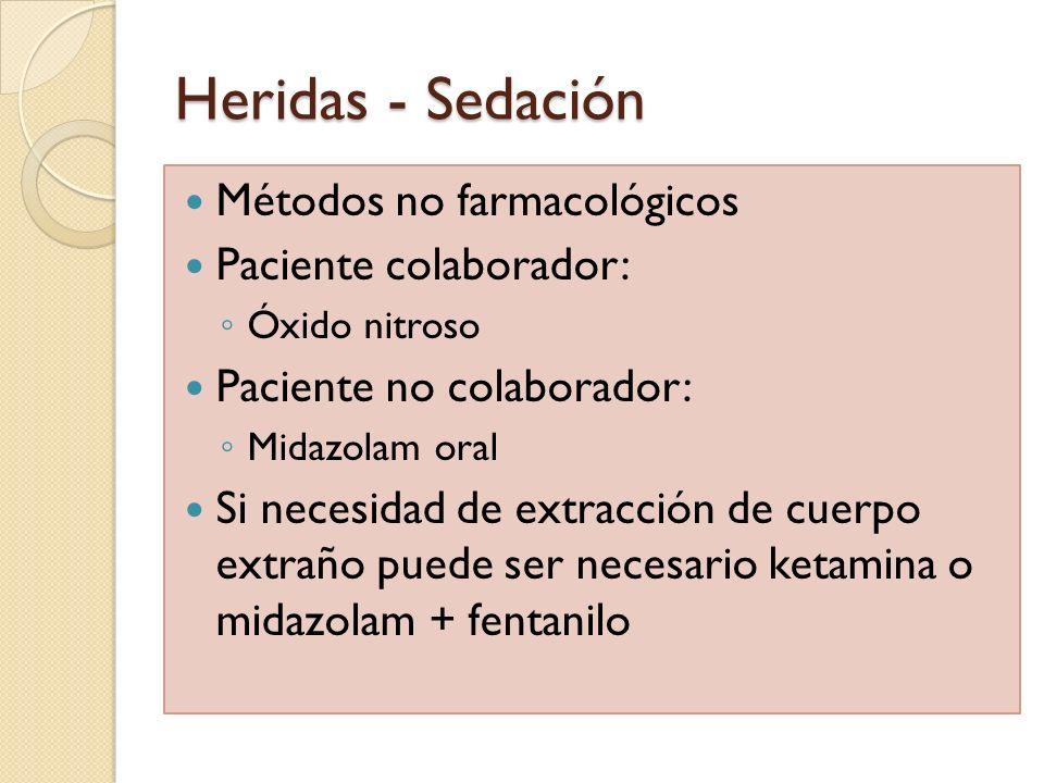 Heridas - Sedación Métodos no farmacológicos Paciente colaborador:
