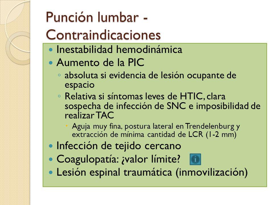 Punción lumbar - Contraindicaciones