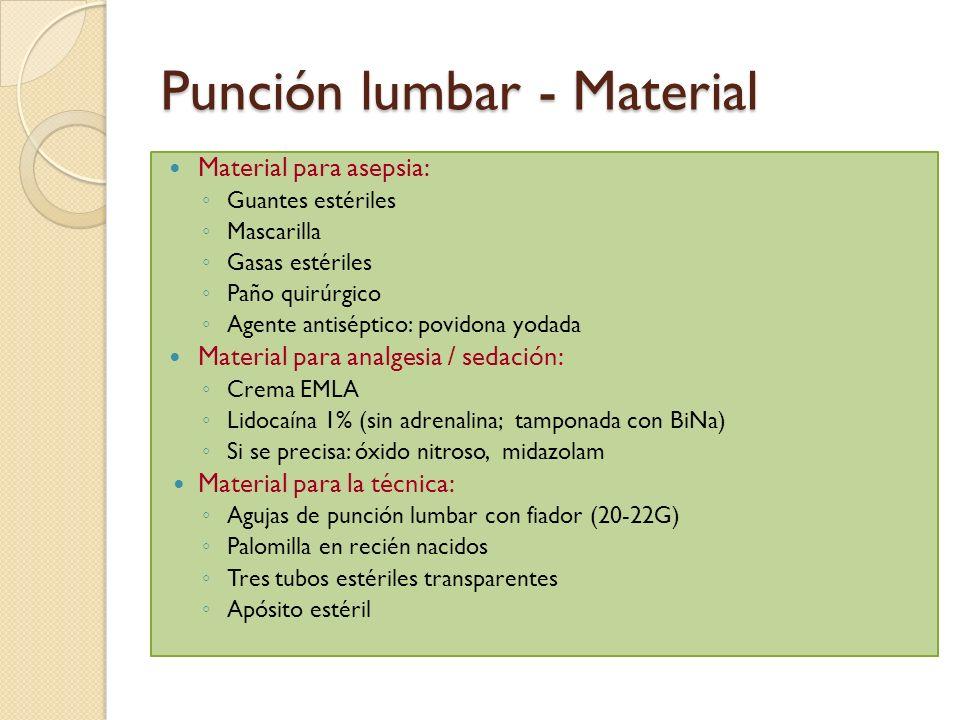 Punción lumbar - Material