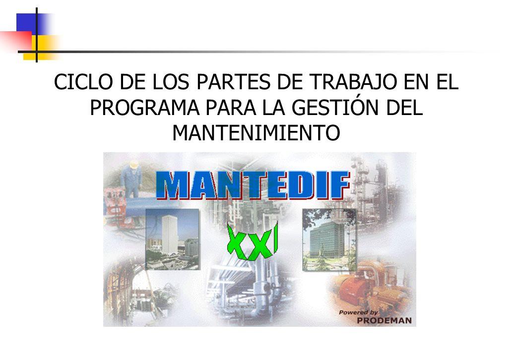 CICLO DE LOS PARTES DE TRABAJO EN EL PROGRAMA PARA LA GESTIÓN DEL MANTENIMIENTO