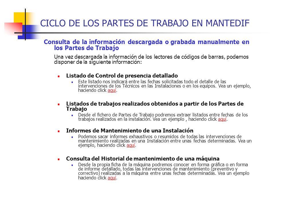 CICLO DE LOS PARTES DE TRABAJO EN MANTEDIF