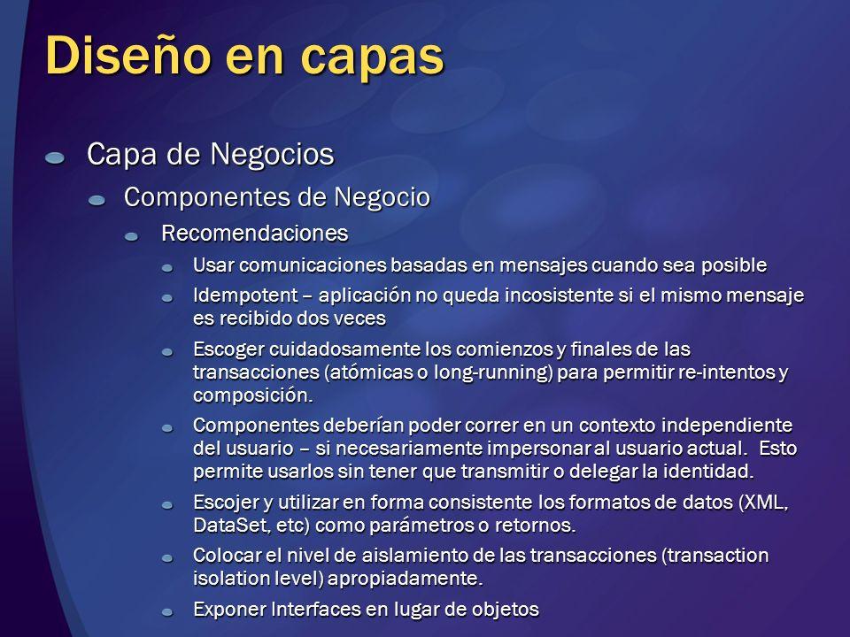 Diseño en capas Capa de Negocios Componentes de Negocio