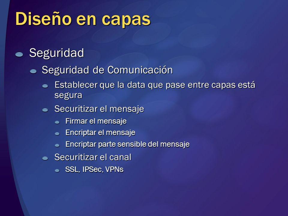 Diseño en capas Seguridad Seguridad de Comunicación