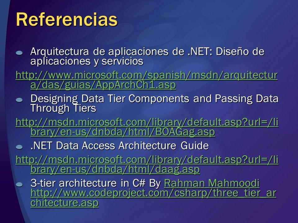 Referencias Arquitectura de aplicaciones de .NET: Diseño de aplicaciones y servicios.
