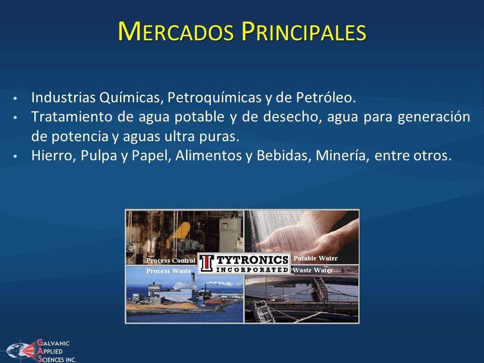 Mercados Principales Industrias Químicas, Petroquímicas y de Petróleo.