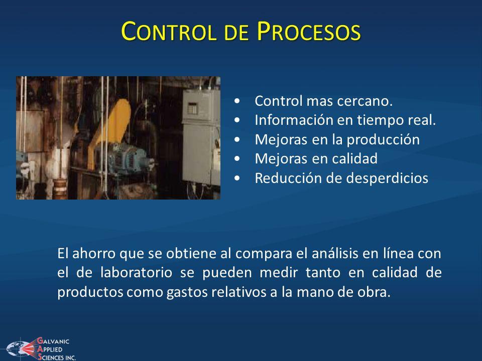 Control de Procesos Control mas cercano. Información en tiempo real.