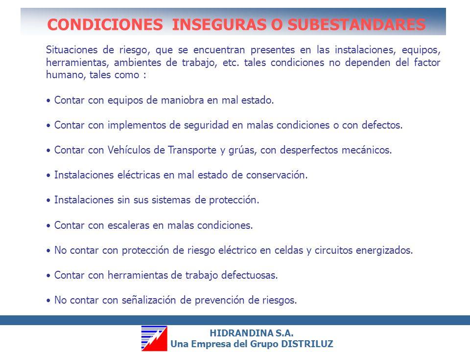 CONDICIONES INSEGURAS O SUBESTANDARES
