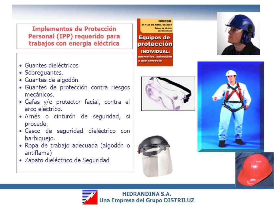Implementos de Protección Personal (IPP) requerido para trabajos con energía eléctrica