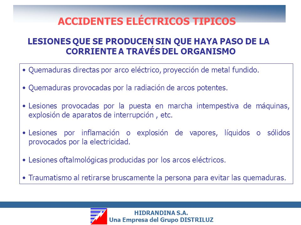 ACCIDENTES ELÉCTRICOS TIPICOS
