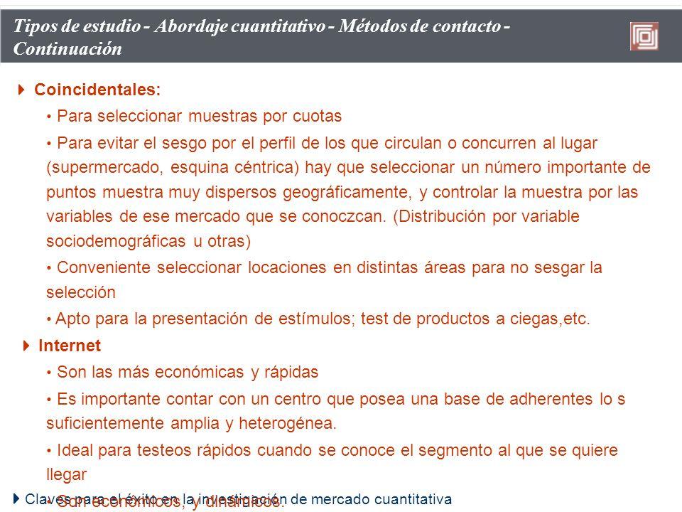 Tipos de estudio - Abordaje cuantitativo - Métodos de contacto - Continuación