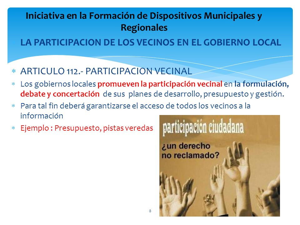 Iniciativa en la Formación de Dispositivos Municipales y Regionales