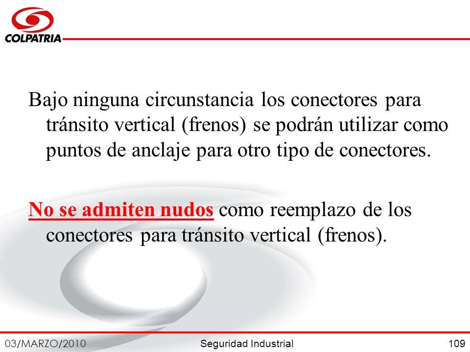 Bajo ninguna circunstancia los conectores para tránsito vertical (frenos) se podrán utilizar como puntos de anclaje para otro tipo de conectores.