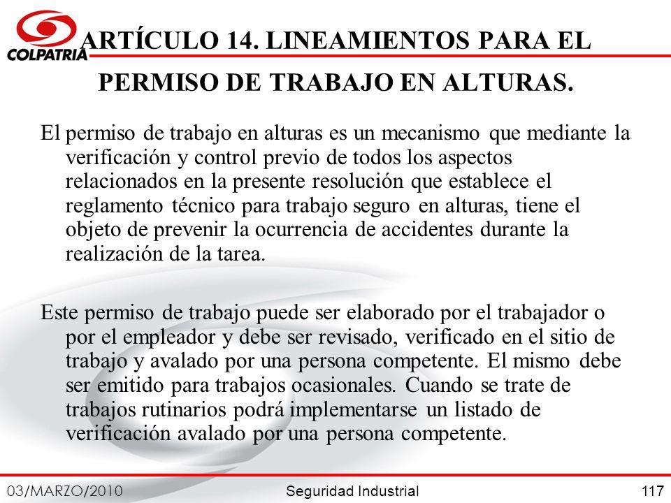 ARTÍCULO 14. LINEAMIENTOS PARA EL PERMISO DE TRABAJO EN ALTURAS.