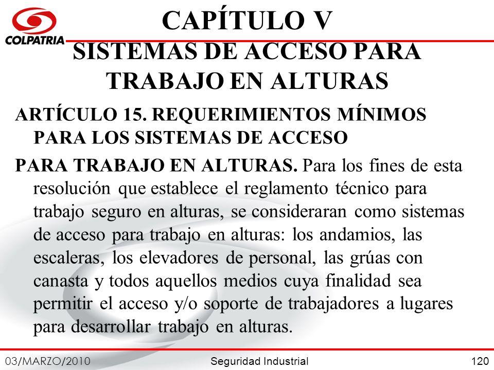 CAPÍTULO V SISTEMAS DE ACCESO PARA TRABAJO EN ALTURAS