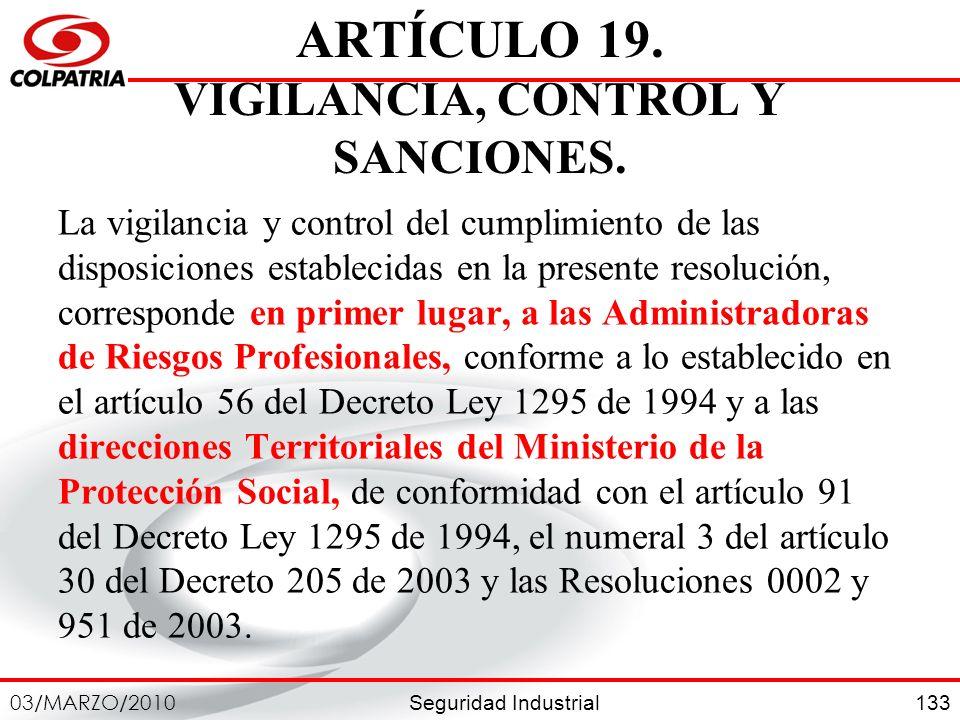 ARTÍCULO 19. VIGILANCIA, CONTROL Y SANCIONES.